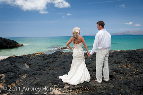 Blue Water And Bride Groom At Makena Cove
